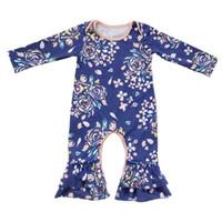 комбинезоны для пижамы оптовых-оптовые Европа дети комбинезон весна осень новорожденных девочек бутик боди цветок печати с длинным рукавом дети бутик пижамы