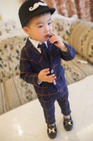 zebra krawatten großhandel-Kinder Anzug Outfits Säuglingsbekleidung Baby Anzug Kinder Sets Kinderkleidung Kleinkind Kurzarm T Shirts Jungen Krawatte Kinder Freizeithosen Kinder Set