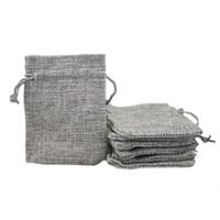 ingrosso borse da regalo in tessuto-7x9cm personalizzati economici faux juta coulisse sacchetti di gioielli caramelle perline piccoli sacchetti di tela di lino tessuto in bianco borse per imballaggio regalo
