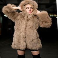 Wholesale Faux Fur Leopard Coat - Winter Leather grass fox fur hooded jacket and long sections Coat Woman Luxury Medium Long Fake Fur Female Overcoat Ladies