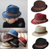 Wholesale Chapeu Feminino Caps - 2016 New Fashion Kids Boys Girls Unisex Fedora Hats Cap for Children Contrast Trim Cool Jazz Chapeu Feminino Trilby Sombreros 5colors