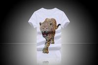 Wholesale Leopard Print Mens Tees - 6003 luminous 3D digital printing T-shirt Leopard Mens Short suit T-shirt top tees cotton cool Short suit size M L XL XXL XXXL