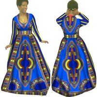 Wholesale Traditional Lady Suits - African Hot Sale 2016 New Fashion Design Women Suit Traditional African Clothing Print Dashiki Lady Set Long Dress