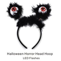 Wholesale Led Hair Bands - Halloween Horror Hair Bands Terrorist Eyes Hair Hoop LED Flashes Change Color 3 Years old - Adult.