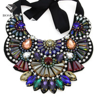Wholesale bijoux tibet for sale - Luxury Design Handmade Multicolor Crystal Necklace Women fashion New Collar Big Choker Statement Necklaces Pendants Bijoux femme