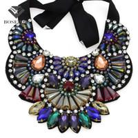 Wholesale new fashion bijoux for sale - Luxury Design Handmade Multicolor Crystal Necklace Women fashion New Collar Big Choker Statement Necklaces Pendants Bijoux femme
