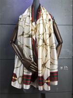 Wholesale Girl Scarf White - Scarf real silk 2016 fashion silk elegant scarves Pashmina shawl female girls size 90*180CM popular stria pattern printed free shipping