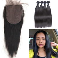 Wholesale 4x4 swiss lace closure - 4pcs Malaysian Straight Virgin Hair Weave Bundles With Closure 4X4 Swiss Lace Bleached Knots 100% Human Hair G-EASY