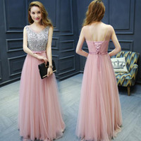 Wholesale Long Blue Bow Dress - 2017 Pink Dark Navy Bridesmaid Dresses Long New Arrival Lace Up Sleeveless Backless Sequins A LineTulle Bridesmaid Dresses