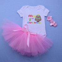 Wholesale Infant Romper Outfits - Baby girl Birthday Party outfits Christmas Cartoon Romper+ Bow Tutu skirt +headbands 1year Minne Infants clothing 2017 Hotsale