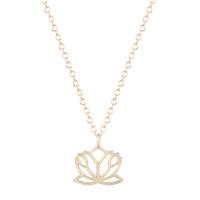 déclaration de colliers européens achat en gros de-10pcs / lot européen et américain minuscule lotus fleur collier élégant amitié pendentif déclaration bijoux cadeaux de noël pour les femmes