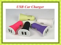 Wholesale Cheap Iphone Mobile Charger - Candy Colors Car Charger 5V 2A Dual USB charger Scrubs Cheap Car Chargers For iphone samsung Any Mobile Phone Free Shipping