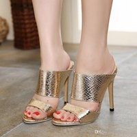 Wholesale Silver Beading Prom Shoes - Luxury prom gown dress shoes sexy high heel shoes slipper silver gold wedding shoes 12cm size 35 to 40