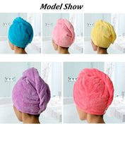 Wholesale Microfiber Absorbent Hair Towels - New Fashion Women Hair Towel Bathroom Super Absorbent Quick-drying Microfiber Bath Towel 5 Colors Hair Dry Cap Salon Towel 25x65cm