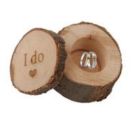 cajas redondas de anillos al por mayor-6 * 5.2 cm caja del anillo de bodas Rústico Shabby Chic caja de madera del anillo de bodas portador de la caja apoyos de fotografía redonda decoración de la boda WT038
