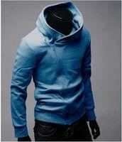 Wholesale Slim Black Sweater Coat - Assassin's Creed Men's Slim oblique zipper sweater coat jacket Hoodie jacket free shipping