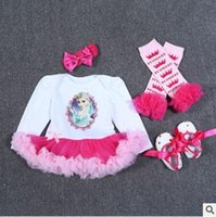 Wholesale Lace Ruffle Girls Dress Headband - Baby Girls Romper Winter Newborn Baby Long Sleeve Christmas Romper Ruffle Lace TUTU Dress Leg Warmers Baby First Walkers Shoes Party Dress