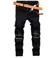 Wholesale Bleach Coat - Fashion Mens Black Jeans Pants Slim Fit Zipper Denim Joggers Leather Patchwork Casual Brand Designer Trousers E0132