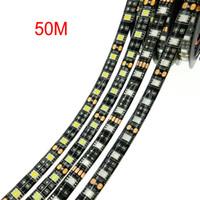 pcb white led пожелтение оптовых-Черный печатной платы светодиодные полосы 5050 СМД 12 В гибкий свет 60LED/М 5 м водонепроницаемый светодиодные полосы 300led,белый,белый теплый,синий,зеленый,красный,желтый Рождество