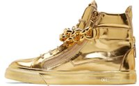 zapatos de cadena de oro de los hombres al por mayor-Diseñador de la mejor marca Zapatos Hombre punta redonda hombre zapatillas de deporte Cadenas de oro zapatos de hombre Zapatillas de deporte superiores más grandes Tenis Masculino 2016