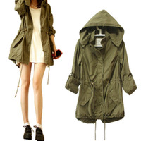 Wholesale Women S Military Trench Coat - Wholesale-SLK Women Drawstring Waist Army Military Trench Hooded Long Coat