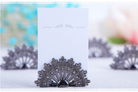 Wholesale Peacock Favors - 100 PCS Antiqued Fan Place Card Holder Wedding Favors Party Table Decoration Shower Peacock Name Card Holder