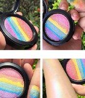 Wholesale Wholesale Powder Eye Shadow - 2016 Hot sales Rainbow Highlighter Makeup Palette Powder Eye shadow Blusher Shimmer Iluminador Maquiagem Contour as Bitter Lace Beauty