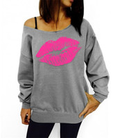 Wholesale Lips Print Sweatshirt - Autumn Winter Long Sleeve Sweatshirts Black Women Sweater Casual Lips Print O neck Sexy Off Shoulder Hoodies Women Eur Sudaderas Mu 5pcs lot