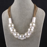 Wholesale Twisted Beads Necklace - White Pearl Choker Necklace Classic Round Metal Necklace Beads Chain Graceful Ropes Necklaces Femininos For Elegant Women