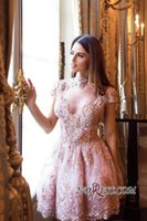Wholesale Slim Homecoming Dresses - 2018 New Pink Beaded Sequins Lace Homecoming Dress Applique Cap Sleeeves Graduation Cocktail Party Dress Slim Dresses for Women Custom Made