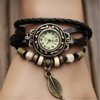 Wholesale Vintage Watches For Fashion - Women Wristwatches High Quality Women Genuine Leather Vintage Fashion Watch Leaf Pendant Bracelet Wristwatches For Gift jewelry