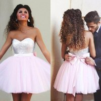 Wholesale Cheap Clubbing Dress China - 2016 Baby Pink Tulle Silver Sequined Short Homecoming Dresses Cheap Bow Zip Back Mini Prom Party Dress Custom Made China EN81012