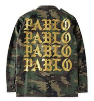 Wholesale Camouflage Jacket Men Winter - 2016 Autumn Winter Yeezus Season 3 Kanye West Pablo Camouflage Men Jacket Coat Army Green Hiphop Paul Streetwear Military Jacket