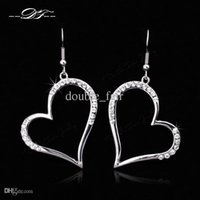 Heart Look CZ Diamond Inlaid Drop Earrings Atacado 18K Gold Plated Crystal Fashion Jewelry For Women Gift brincos joias DFE441