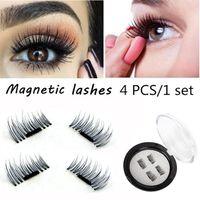 Wholesale Wing Lashes - Magnetic Eye Lashes 3D Mink Reusable False Magnet Eyelashes Extension 3D Eyelash Extension Magnetic Eyelashes 4pcs set