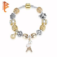 Wholesale Pearl Crystal Bangle Bracelet - BELAWANG European Gold Color Shell Simulated Pearl Beads Bracelets Crystal Eiffel Tower Charm Bracelet For Women Christmas Bracelets Bangles