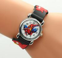 Wholesale Orange Spiderman - Hot sale 2017 New Fashion Spiderman Child Watch Silicone Cartoon Kids Sport Boys quartz watch Relojes 3D Watch