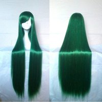 Wholesale Cosplay Purple Straight Wig - High Quality 100cm Long Straight Synthetic Hair Classical Women Wig Green Purple Cosplay Wig Custome Party Wigs