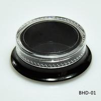 tarro de tapa negra al por mayor-NUEVOS Hot 100 Cosmetic Black Square Jars Recipientes de belleza de pared gruesa - 3 ml / 3 gramos (tapa transparente) Frasco de maquillaje vacío de plástico