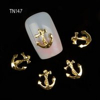 Vente en gros-10Pcs / Lot 3D or ancres Nail Art charme décorations paillettes alliage métal bijoux clous TN147