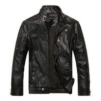 Wholesale Leather Motorcycle Jackets Mens - Mens Motorcycle Leather Jackets Slim Fit stand collar Faux Leather Coat Long Sleeve Black Moto Jackets M-3XL Free Shipping