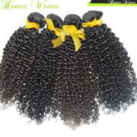 natürliche afro haar curl weben großhandel-8A African American Black Beauty Afro Verworrene Lockige Peruanische Reine Haarwebart 3 teile / los Natürliche Enge Locke Schussfäden