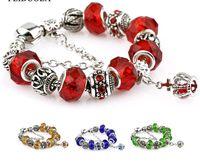 Wholesale Black Crystal Beads Fit Bracelet - Crystal Charm Bead Fit European Style Pandora Bracelets Gold Blue Black 17cm-20cm Length Vintage diy Hand Chain