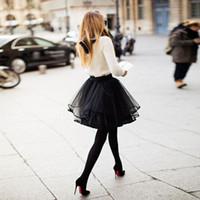 kısa tutu kadın etekleri toptan satış-Kadınlar Için sevimli Petite Siyah Tül Etekler Çok Katmanlı Şerit Kenar Kısa Mini Kızlar Kokteyl Parti Elbiseler Tutu Kadın Yetişkin Etekler