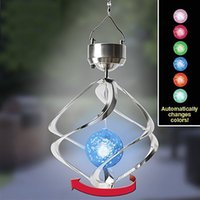 Atacado- Solar Powered Outdoor Night Light Cor Mudando Pendurado Decorativo Espumante Cristais Gazing Ball LED Light Lamp Night Lamp