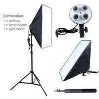Wholesale Umbrella Photography Light - Photography diffuser Photo Studio Accessories 100-240V Four Socket Lamp Holder With 50*70cm Softbox include Light Stand