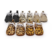 Wholesale Leopard Print Unisex Baby Shoes - New 7 Colors Camouflage Dot Leopard shoes Baby Moccasins Soft bottom Shoes Genuine Leather toddler Baby First Walkers C1026