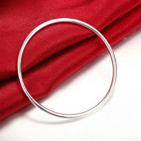 Classic 3MM Single Ring Silvery Bangle 925 Jóias Sterling Silver Bangle Bracelet Pulseira Masculina Unisex Men's Jewelry Gift Preço de atacado