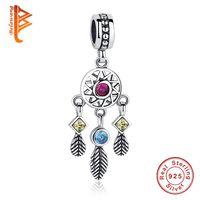 Wholesale Bracelet Dreamcatcher - BELAWANG New 925 Sterling Silver Dreamcatcher Charms Clear Crystal Dangle Charm Beads Fit Pandora Charm Bracelet&Bangles DIY Jewelry Making
