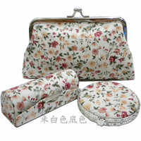 Wholesale Purse Party Favor Boxes - Creative Floral Crafts Wedding Favor Gift Silk brocade Compact Cosmetic Mirror and Lipstick Case and Coin Purse Set Women Makeup Tools Box